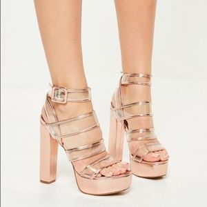 NWT Rose gold Clear Strap Heeled Platforms